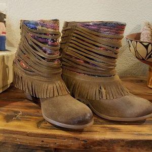 suede fringed  western booties
